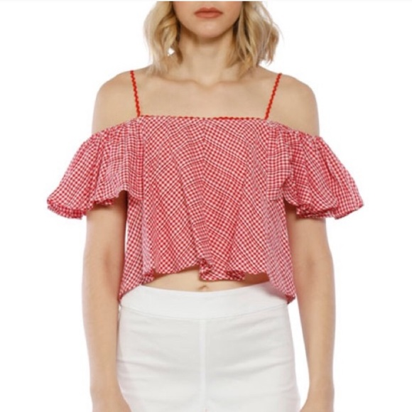 Walter Baker Tops - Walter Baker Riley Cold-Shoulder Gingham Crop Top